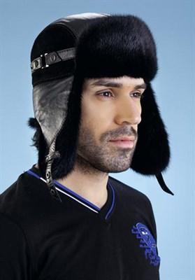 """Шапка мужская """"Андрей"""" кожа/замша/норка, цвет черный, размер 59 - фото 703042614"""