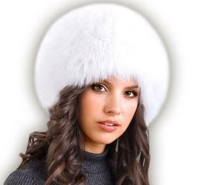 """Шапка женская """"Сноп"""" песец, цвет белый размер 57 - фото 703043788"""