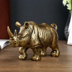 Сувенир полистоун  Золотой носорог  12,5х22х7 см - фото 707466602