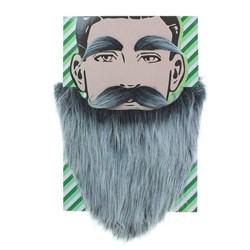 Карнавальная борода  Седая  с усами и бровями - фото 798900348