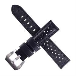 Ремешок для часов, 22 мм, натуральная кожа, l=20 см, черный с перфорацией - фото 799367814