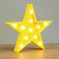 """Ночник пластик от батареек 2АА """"Звезда"""" желтый 24х24х2,8 см"""