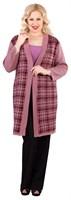 Полупальто женское Ж-659, цвет розовая дымка/бордовый, размер 56