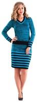 Костюм женский Ж-474, цвет черный/голубой, размер 56