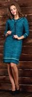 Платье женское Ж-494, цвет морская волна/зеленый/полынь, размер 44