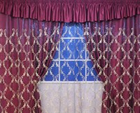 """Комплект для спальни """"Диана"""" (шторы 250см +покрывало), цвет бордовый"""