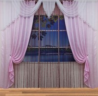 "Комплект штор для комнаты ""Зарина"" (3м х 2,5м, тесьма), цвет синий/зеленый"