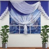 """Комплект штор для кухни """"Эстер"""", цвет синий/белый"""