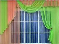 """Комплект штор для кухни """"Элла-2"""", цвет салатовый/персиковый"""