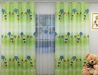 """Детские шторы Радуга """"Микки Маус"""" (3мх2,5м), цвет зеленый"""