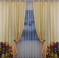 "Комплект штор для комнаты ""Лола"" (3м х 250см, тесьма), цвет салатовый"