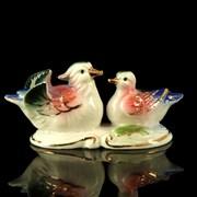 Сувенир керамика  Уточки-мандаринки в пруду  4,5х3,5х9,5 см