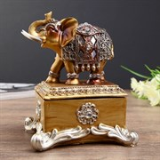 Сувенир полистоун шкатулка  Слон в попоне с зеркалами  14,3х11,5х10 см