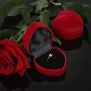 Футляр под кольцо, в форме сердца, 6*6,5*4, цвет красный, вставка черная