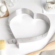 Форма разъёмная для выпечки кексов  Сердце , с регулируемым размером 14,5 - 26,5 см