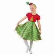 Карнавальный костюм  Ёлочка в горошек , платье, ободок, р-р 32, рост 128 см