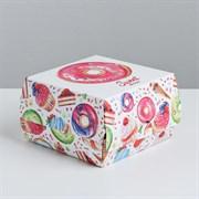 Коробка складная под десерт «Пончики», 12 × 7 × 12 см