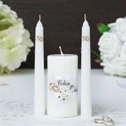 Набор свечей  Совет да любовь  белый: Родительские свечи 1,8х15:Домаш очаг 5,2х9,5