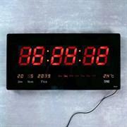 Часы настенные электронные с термометром и календарем, цифры красные 21.5х45.5 см