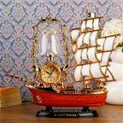 Часы-светильник  Парусник , настольные, золотые, 32х28 см