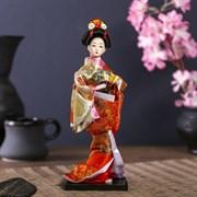 Кукла коллекционная  Гейша с веером  27х12,5х12,5 см