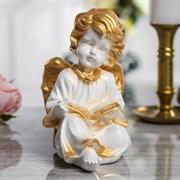 Сувенир  Ангел читает  бело-золотой, 20 см