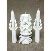 Набор свечей резных  Свадебный , белый: Домашний очаг, Родительские свечи, подсвечник