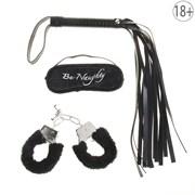 Набор влюбленных 3 предмета: плетка, наручники, повязка, цвет черный
