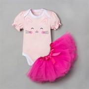 Набор Крошка Я: боди, юбка  Кошечка , розовый, р.22, рост 62-68 см