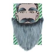 Карнавальная борода  Седая  с усами и бровями